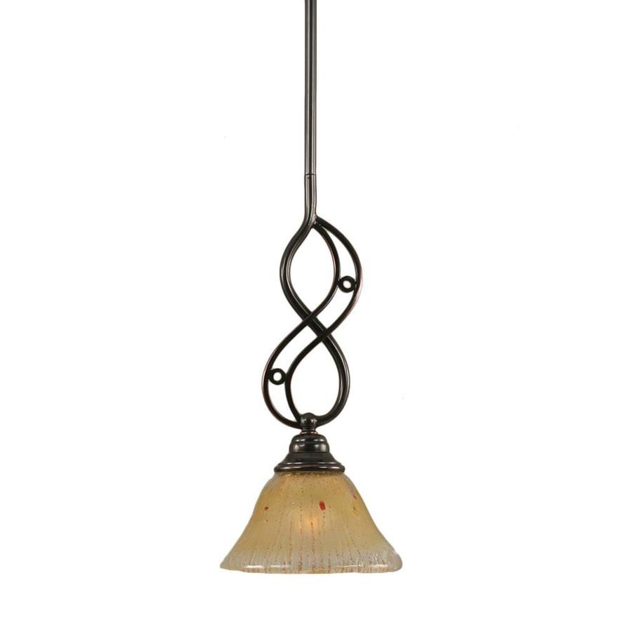 Divina 7-in Black Copper Mini Marbleized Glass Bell Pendant