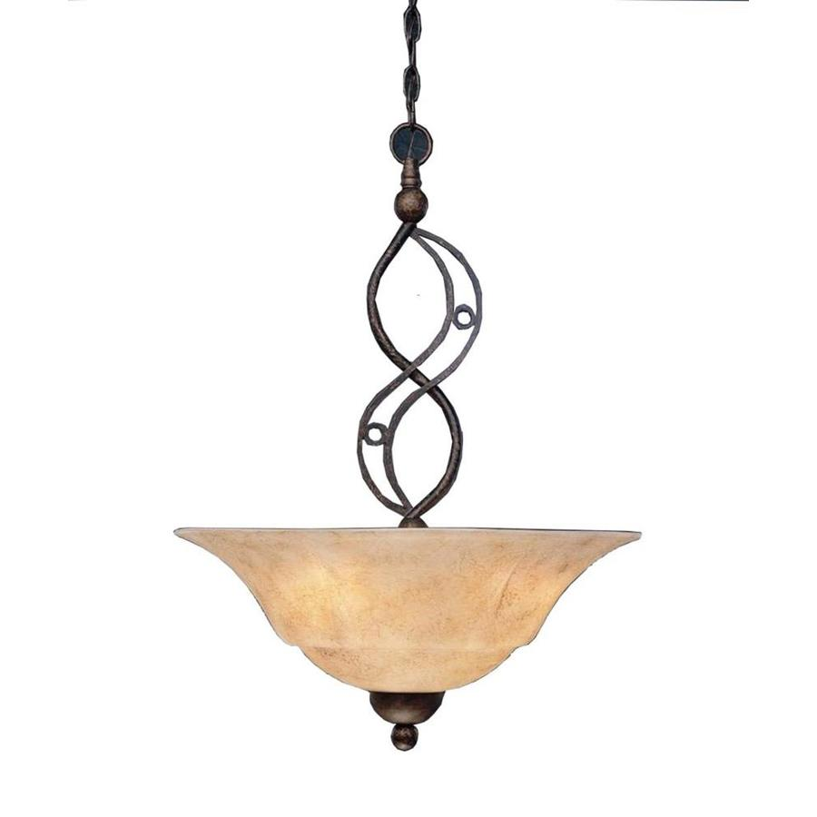 Divina 20-in Bronze Single Tinted Glass Bell Pendant