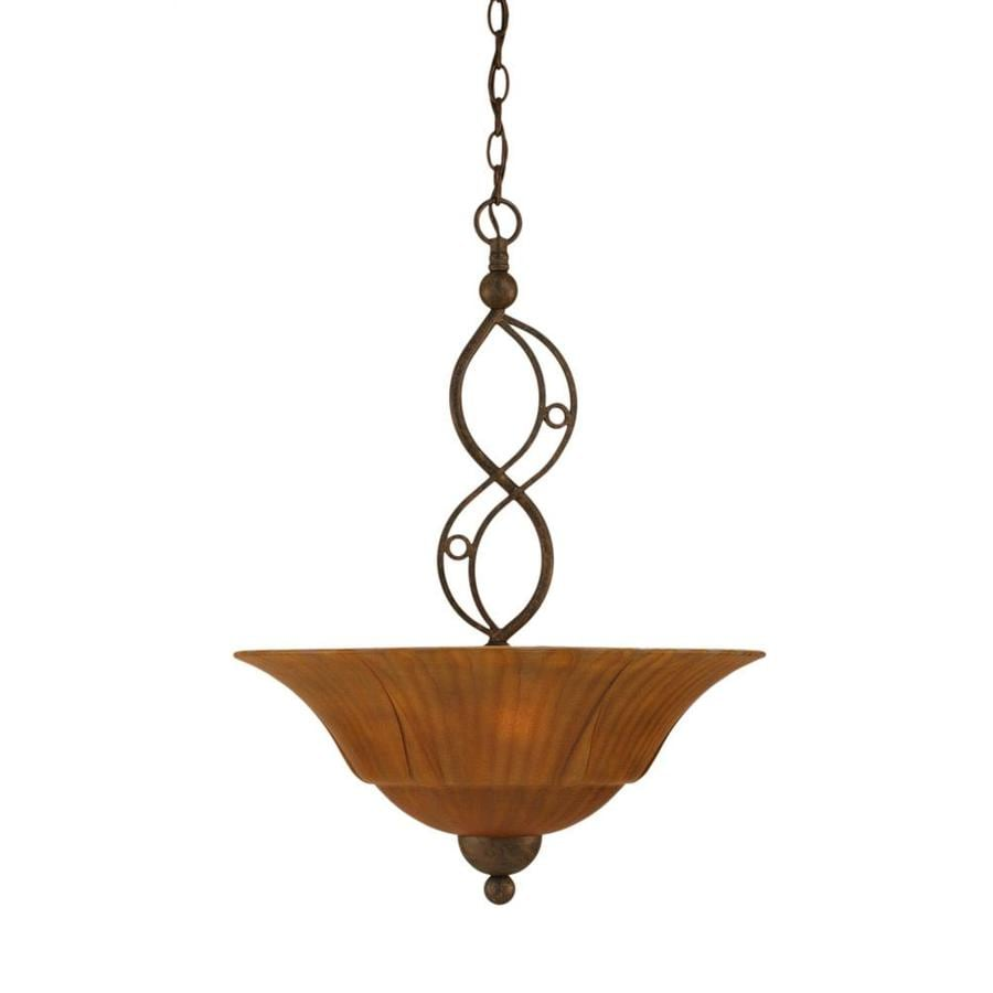 Divina 20-in Bronze Single Marbleized Glass Bell Pendant
