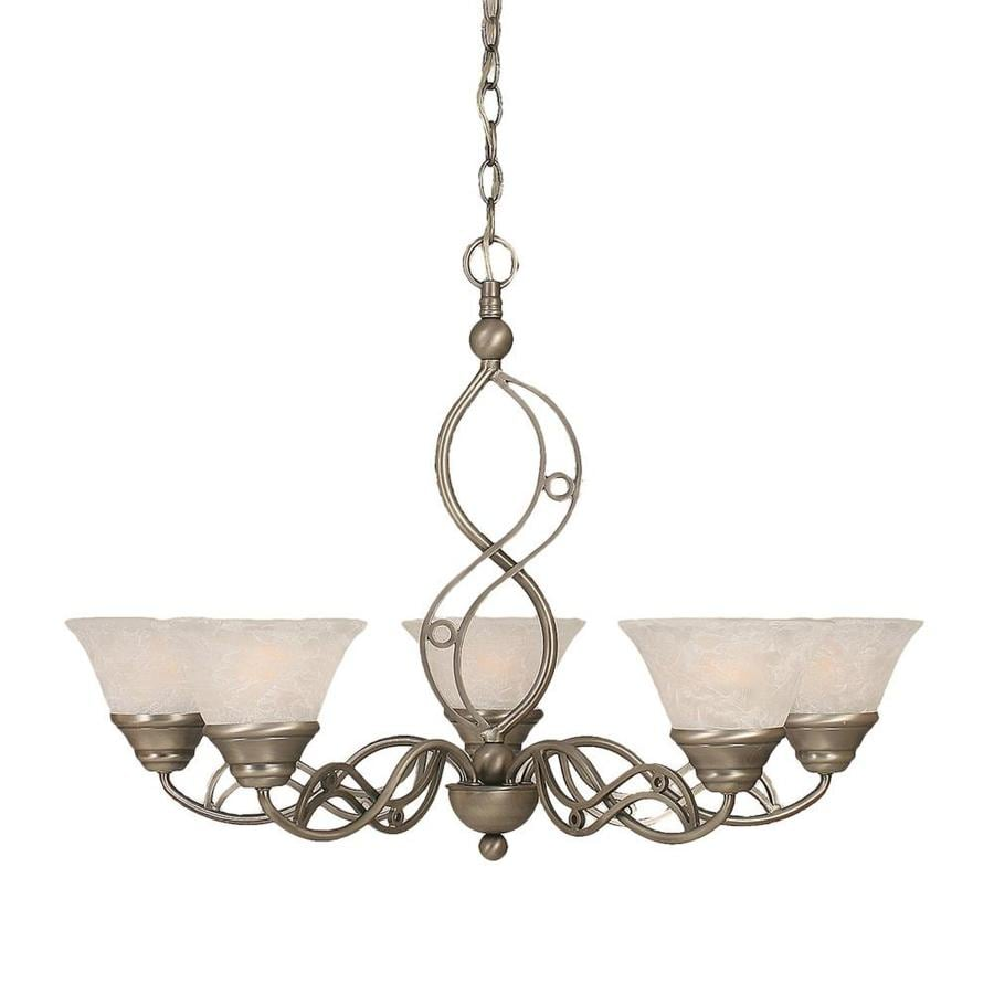Divina 29-in 5-Light Brushed Nickel Marbleized Glass Candle Chandelier