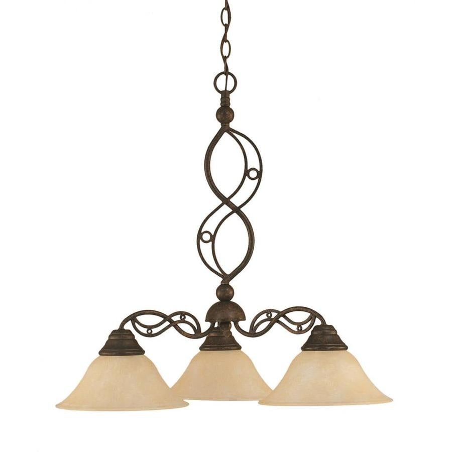 Divina 24.5-in 3-Light Bronze Marbleized Glass Candle Chandelier