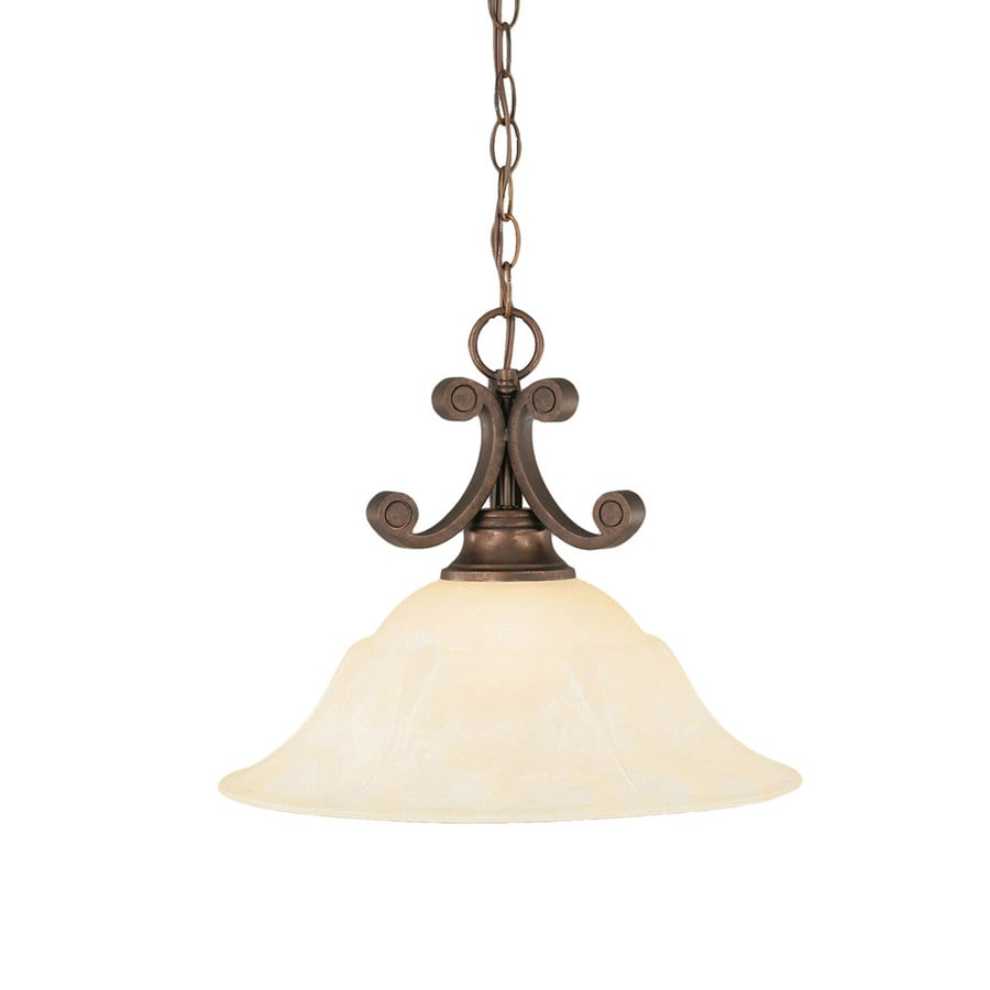 Divina 16-in Bronze Single Tinted Glass Bell Pendant