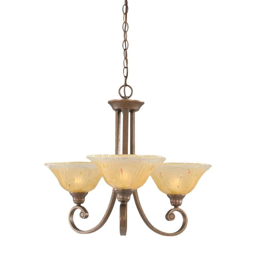 Divina 24.5-in 3-Light Bronze Tinted Glass Candle Chandelier