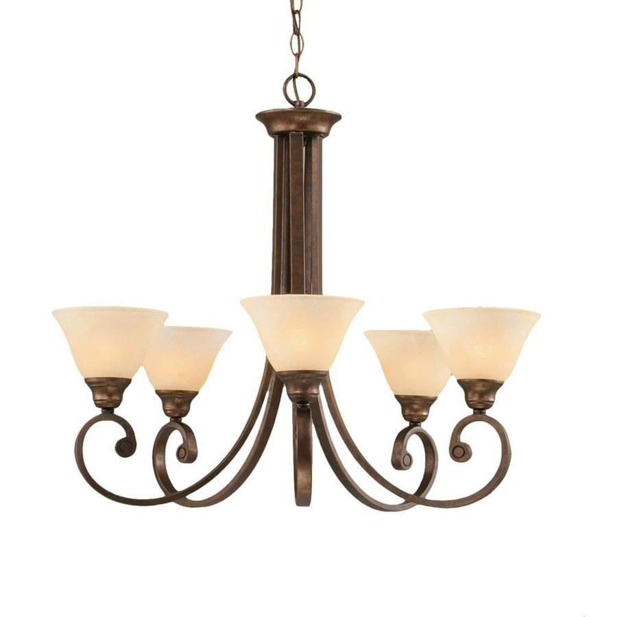 Divina 26.75-in 5-Light Bronze Marbleized Glass Candle Chandelier
