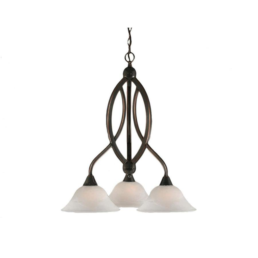 Divina 21.75-in 3-Light Black Copper Alabaster Glass Candle Chandelier