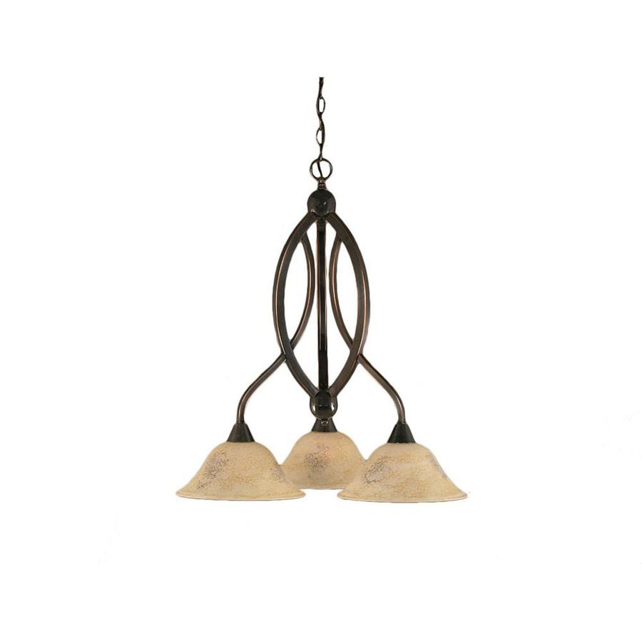 Divina 21.75-in 3-Light Black Copper Marbleized Glass Candle Chandelier
