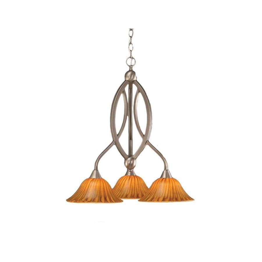 Divina 21.75-in 3-Light Brushed Nickel Tinted Glass Candle Chandelier