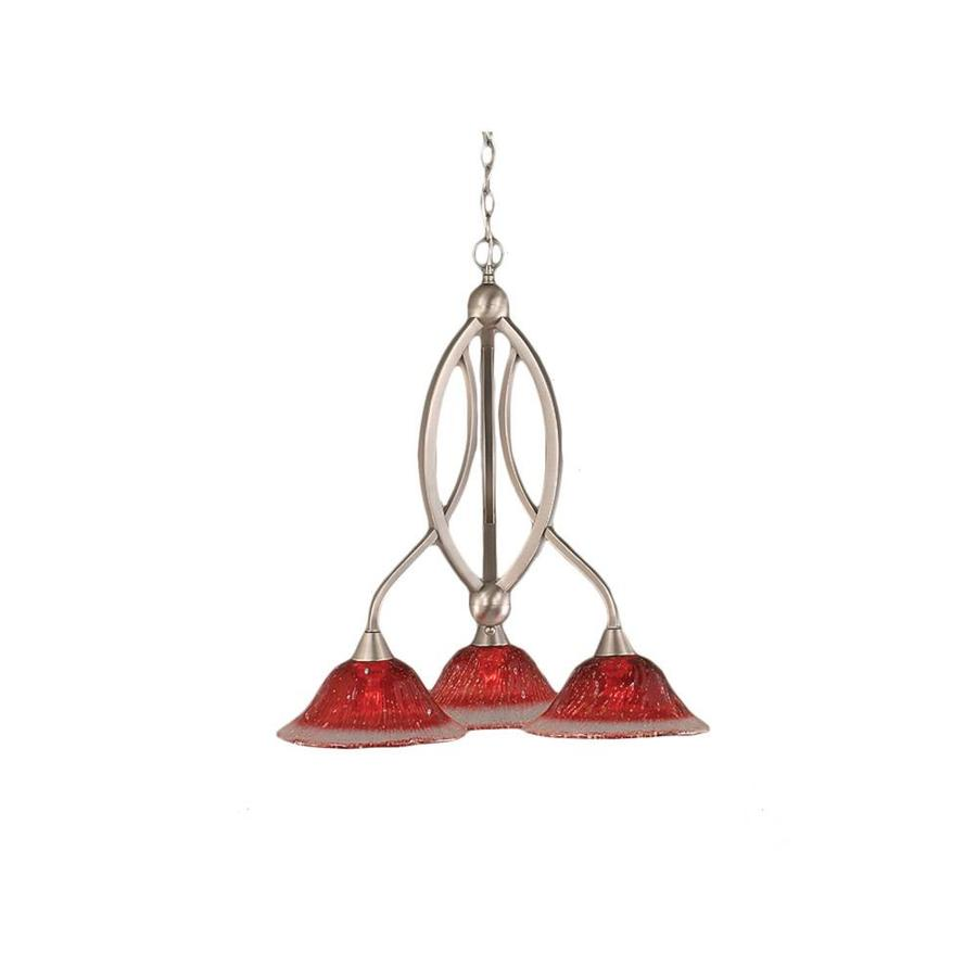 Divina 21-in 3-Light Brushed Nickel Tinted Glass Candle Chandelier