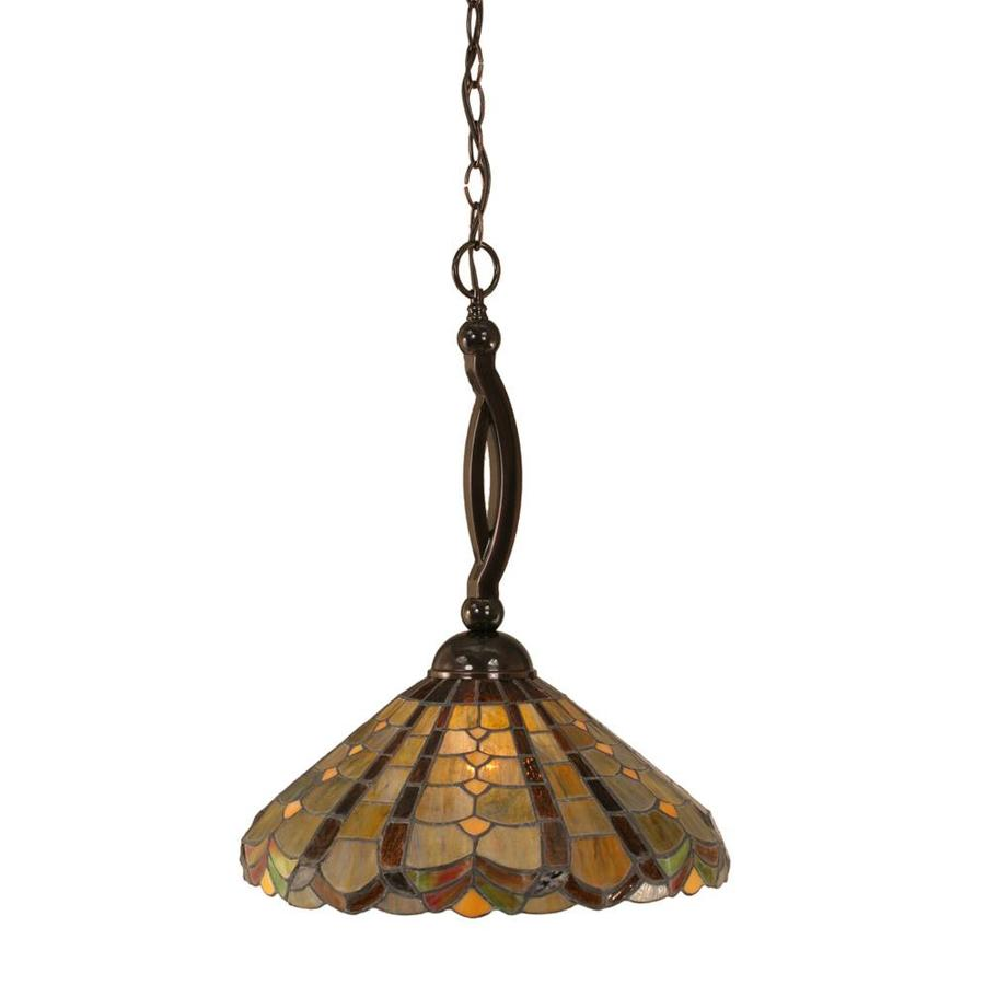 Divina 15-in Black Copper Single Stained Glass Bell Pendant
