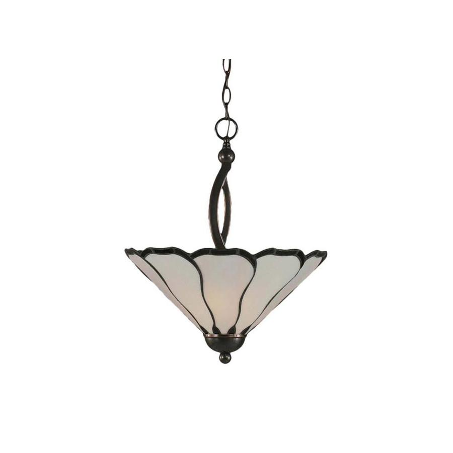Divina 16-in Black Copper Single Stained Glass Bell Pendant