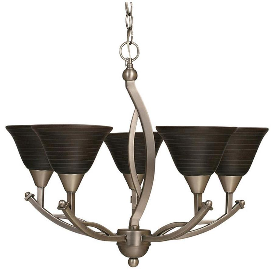 Divina 25-in 5-Light Black Copper Tinted Glass Candle Chandelier