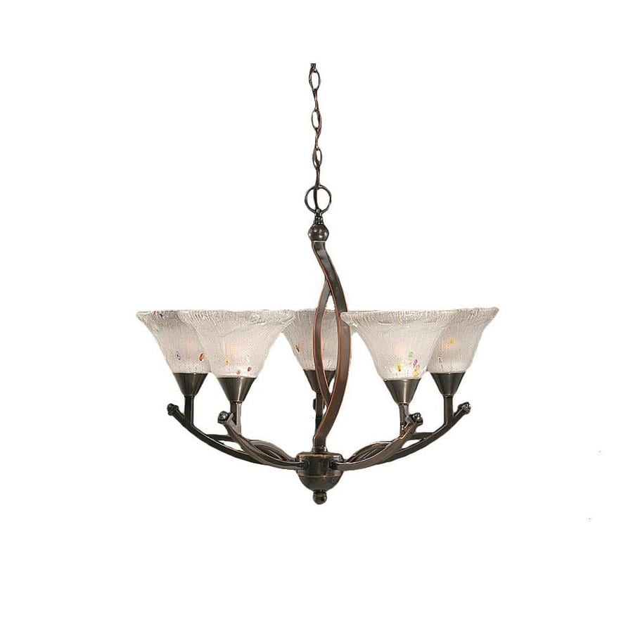 Divina 25.25-in 5-Light Black Copper Tinted Glass Candle Chandelier