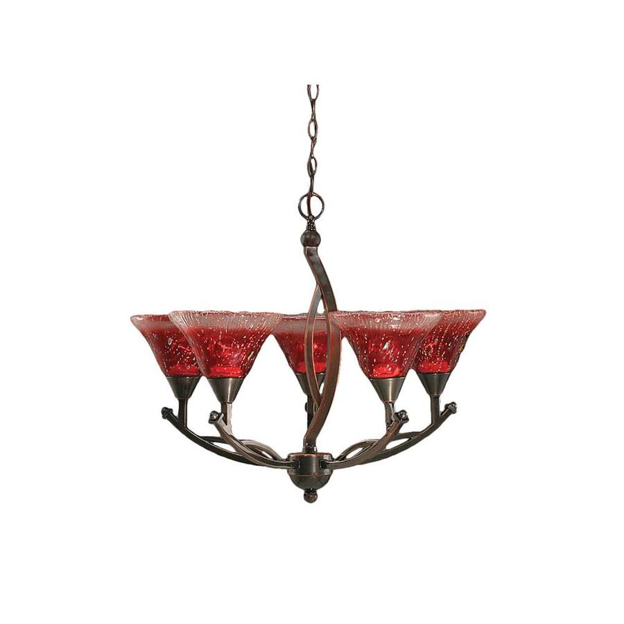 Divina 23.5-in 5-Light Black Copper Tinted Glass Candle Chandelier