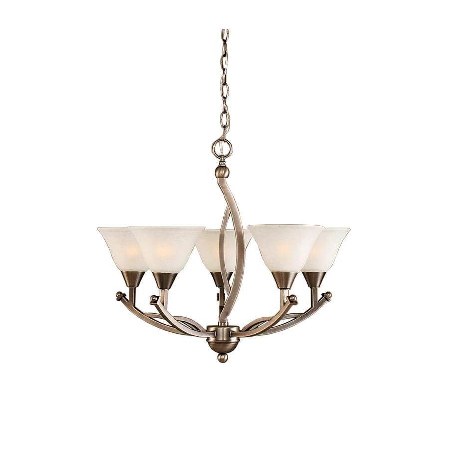 Divina 22.75-in 5-Light Brushed Nickel Marbleized Glass Candle Chandelier