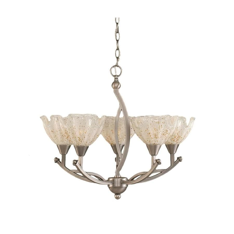 Divina 23.5-in 5-Light Brushed Nickel Tinted Glass Candle Chandelier
