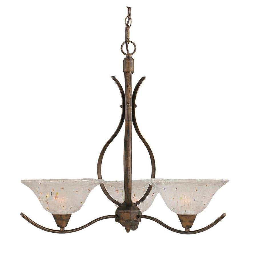Divina 23.25-in 3-Light Bronze Tinted Glass Candle Chandelier