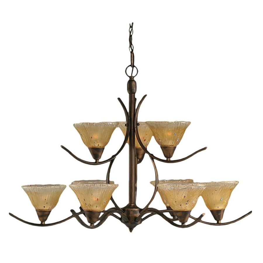 Divina 35.75-in 9-Light Bronze Tinted Glass Tiered Chandelier