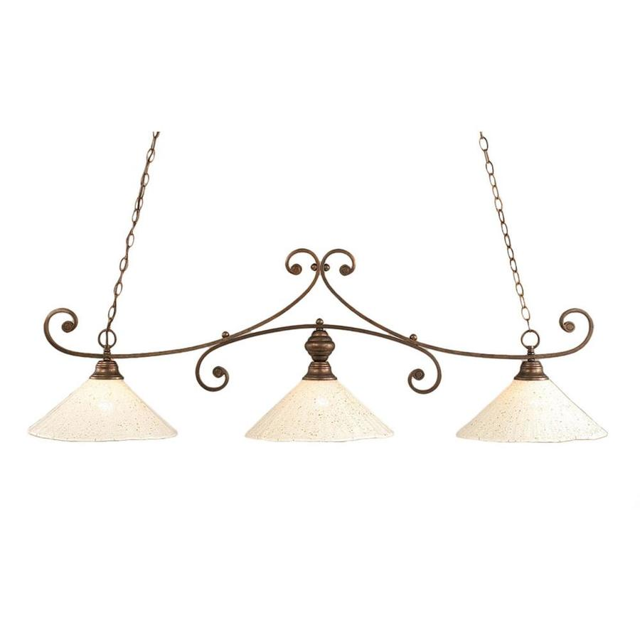 Divina 16-in W 3-Light Bronze Kitchen Island Light with Frosted Shade