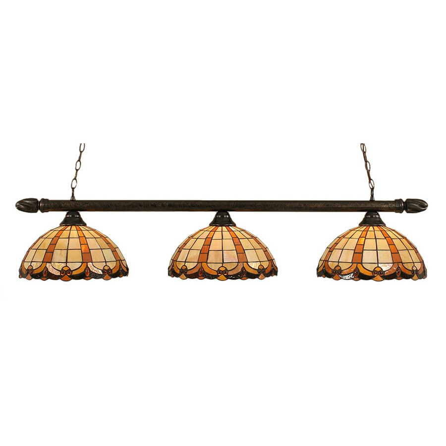 Divina 14.5-in W 3-Light Bronze Kitchen Island Light with Tiffany-Style Shade