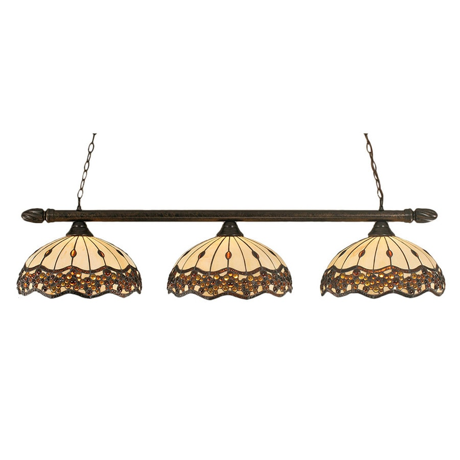 Divina 16.5-in W 3-Light Bronze Kitchen Island Light with Tiffany-Style Shade
