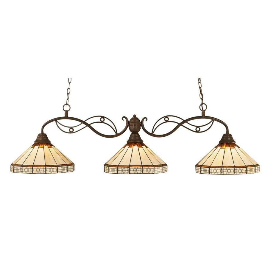 Divina 15-in W 3-Light Bronze Kitchen Island Light with Tiffany-Style Shade