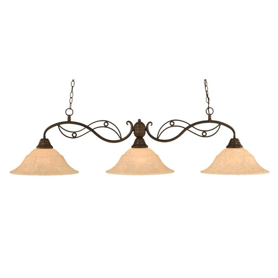 Divina 16-in W 3-Light Bronze Kitchen Island Light with Tinted Shade