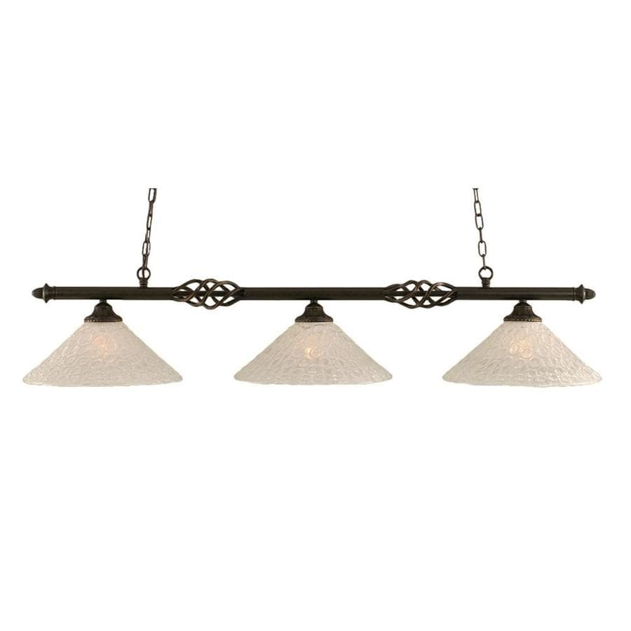 Divina 16-in W 3-Light Dark Granite Kitchen Island Light with Frosted Shade