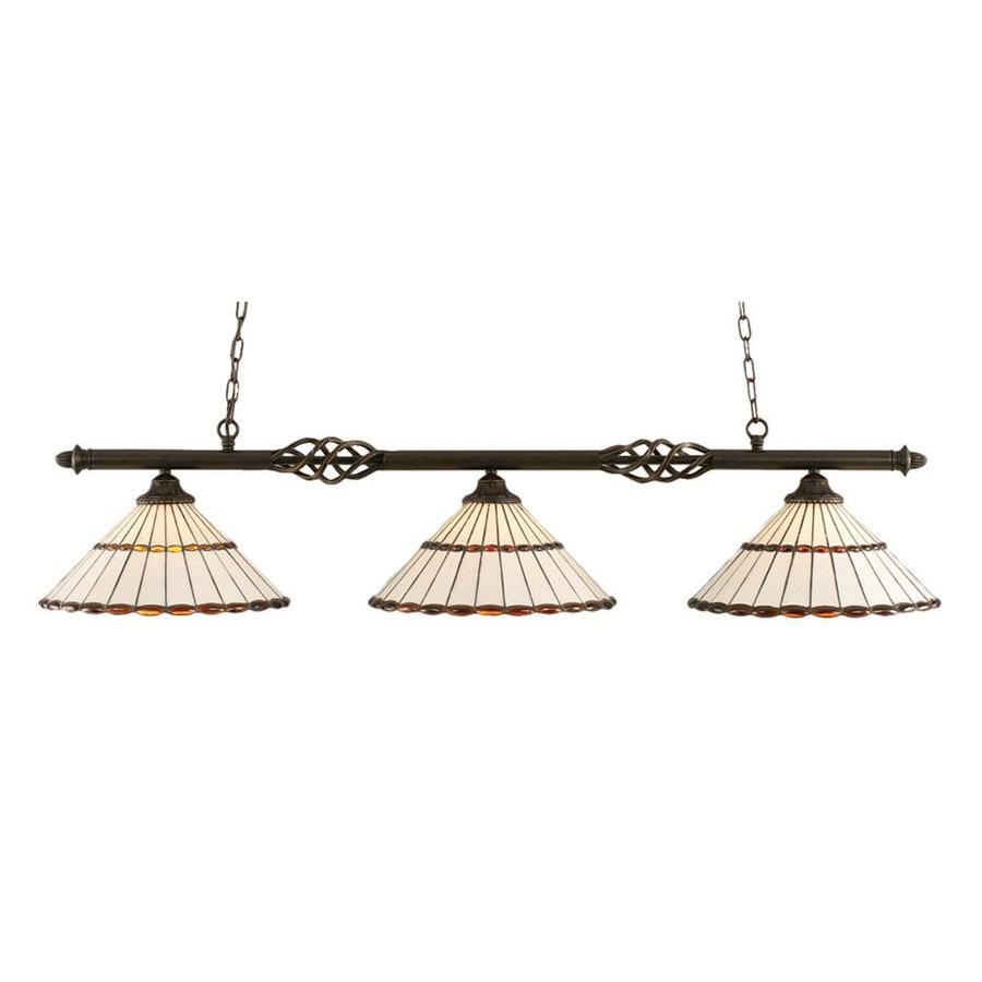 Divina 15.5-in W 3-Light Dark Granite Kitchen Island Light with Tiffany-Style Shade