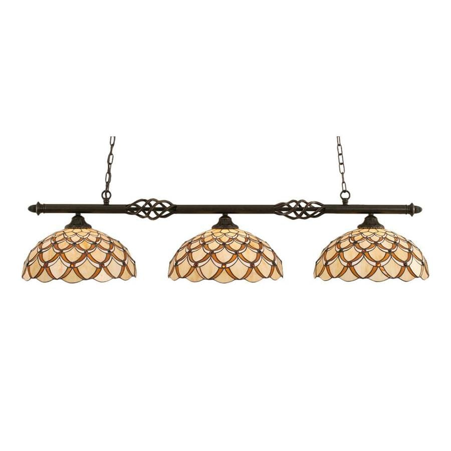 Divina 16-in W 3-Light Dark Granite Kitchen Island Light with Tiffany-Style Shade