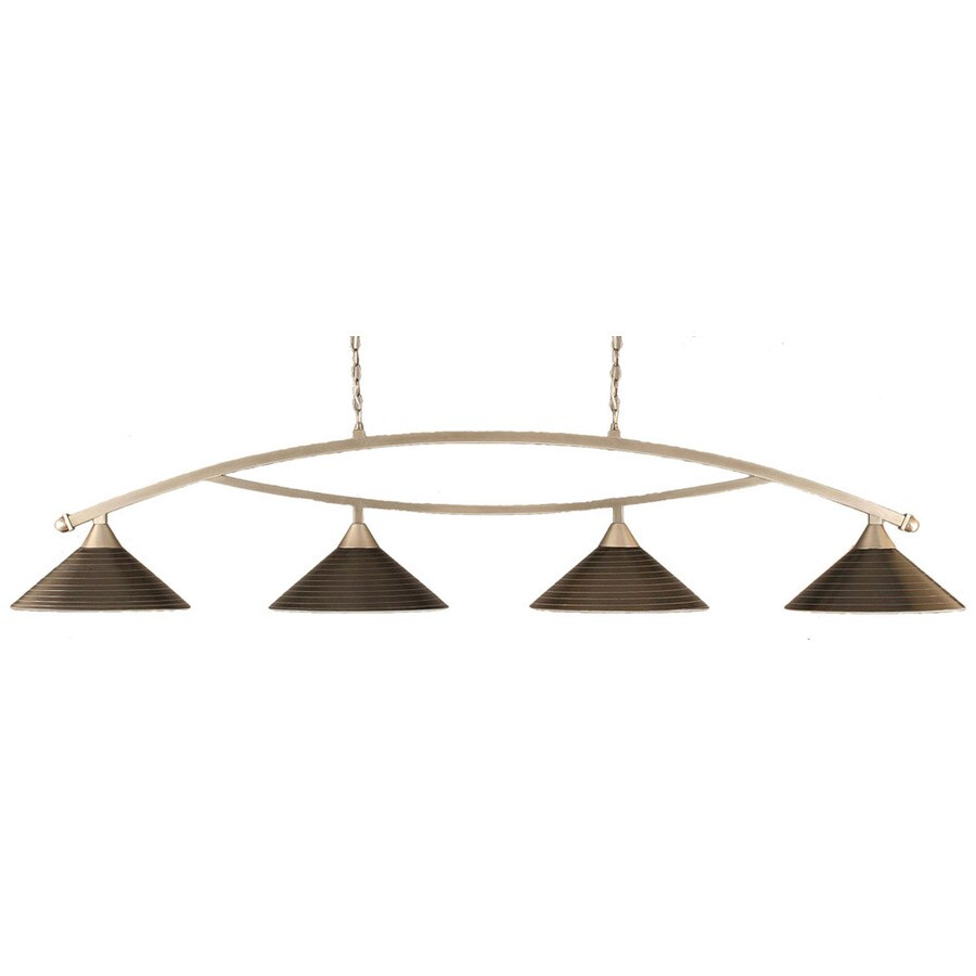 Divina 16-in W 4-Light Brushed Nickel Kitchen Island Light with Textured Shade
