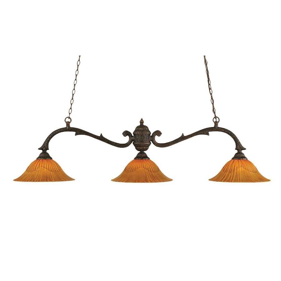 Divina 16-in W 3-Light Bronze Kitchen Island Light with Textured Shade