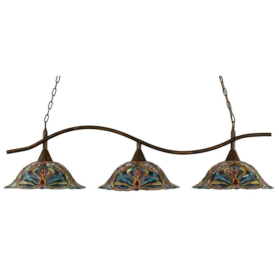 Divina 18.25-in W 3-Light Bronze Kitchen Island Light with Tiffany-Style Shade