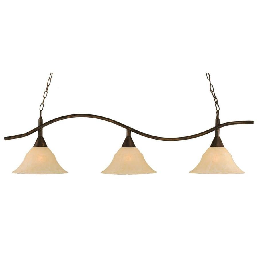 Divina 14-in W 3-Light Bronze Kitchen Island Light with Tinted Shade