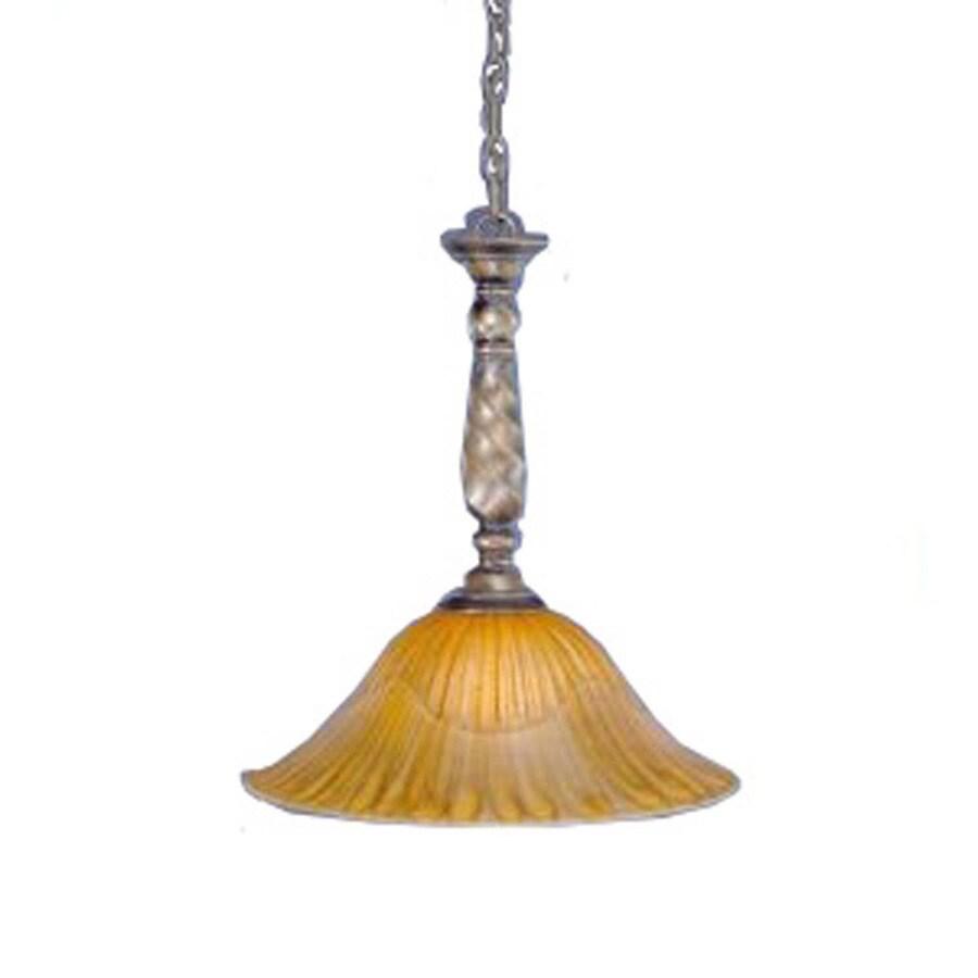 Divina 16-in Bronze Single Marbleized Glass Bell Pendant