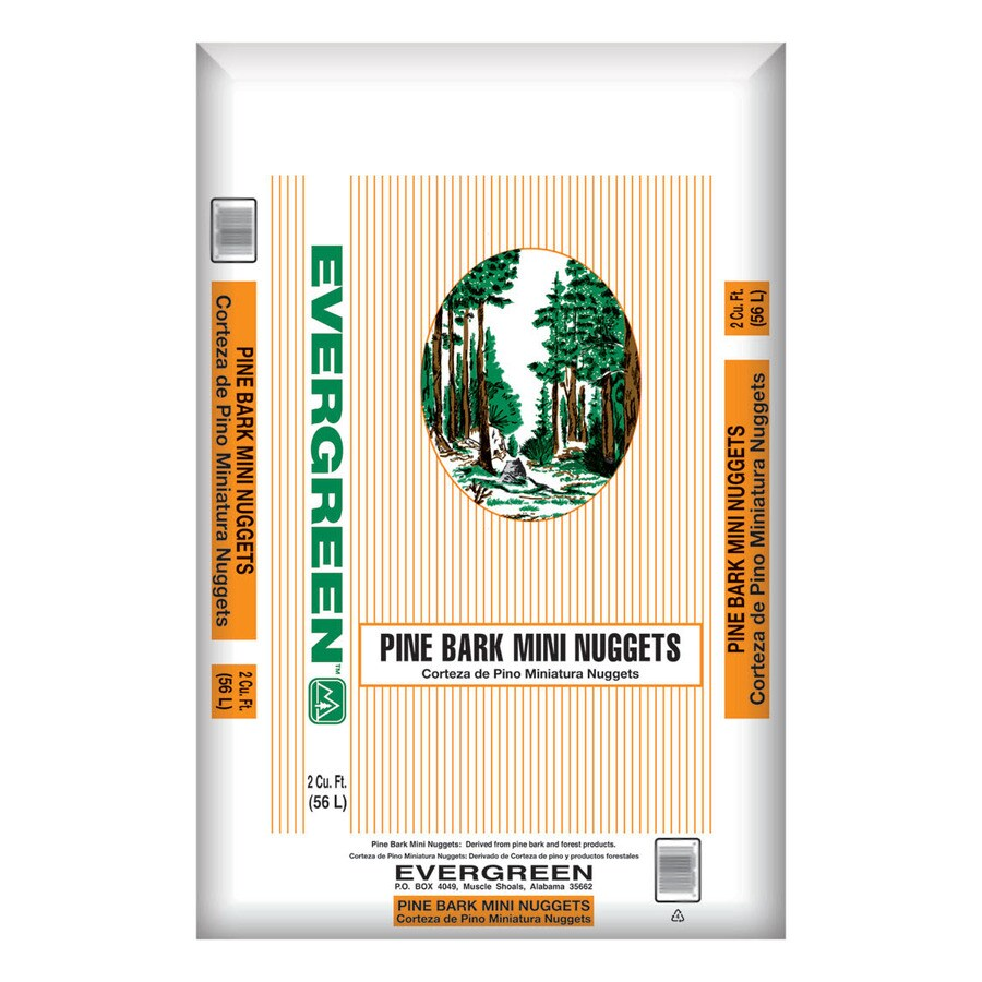 Evergreen 2-cu ft Light Brown/Gold Mini Nuggets Pine Bark Mulch