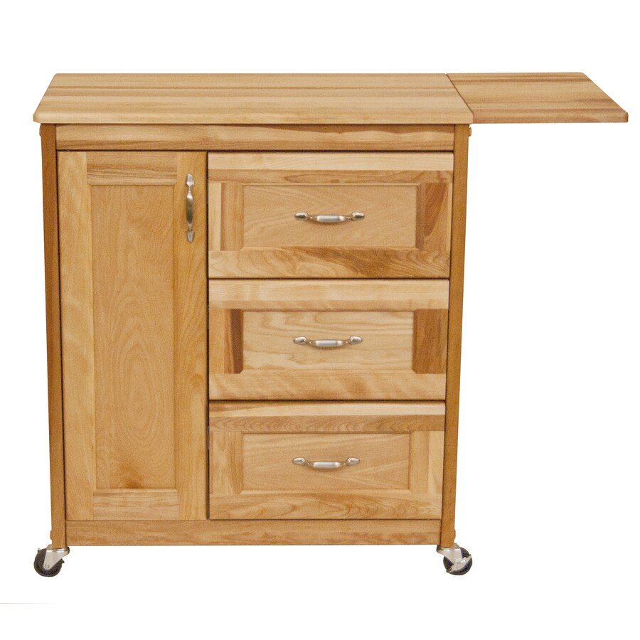 Catskill Craftsmen 40-in L x 17-in W x 34.25-in H Natural Kitchen Island with Casters
