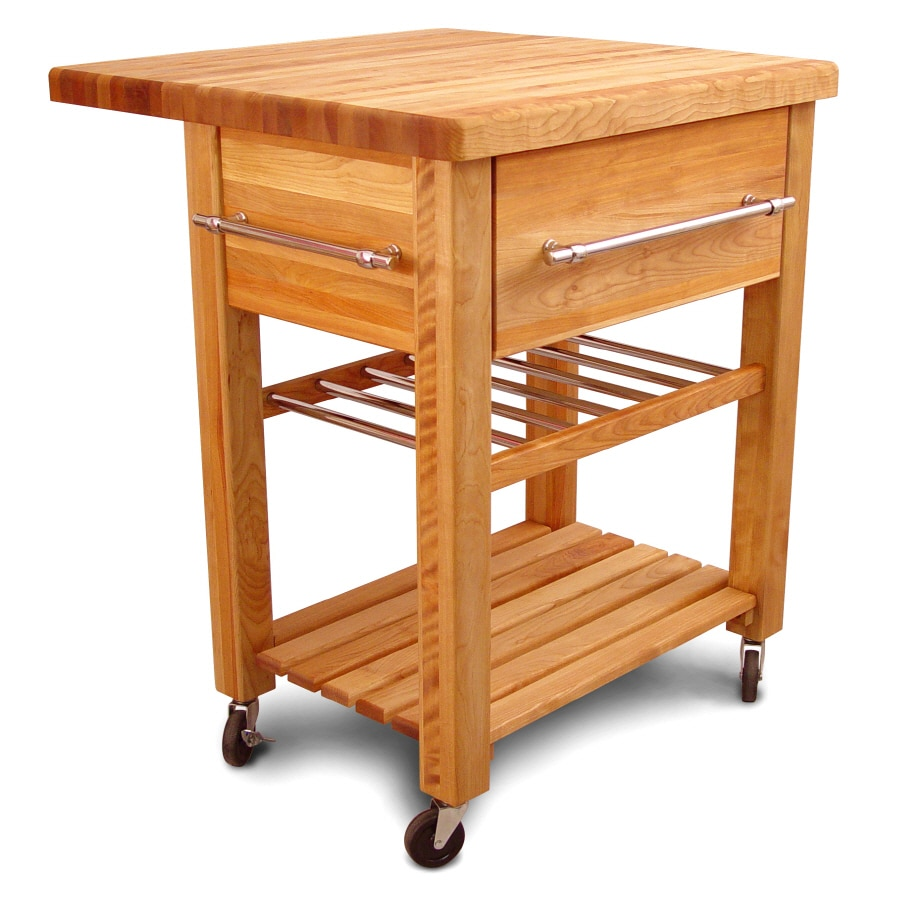 Catskill Craftsmen 29-in L x 29-in W x 35-in H Northeastern Hardwood/Oiled Kitchen Island with Casters