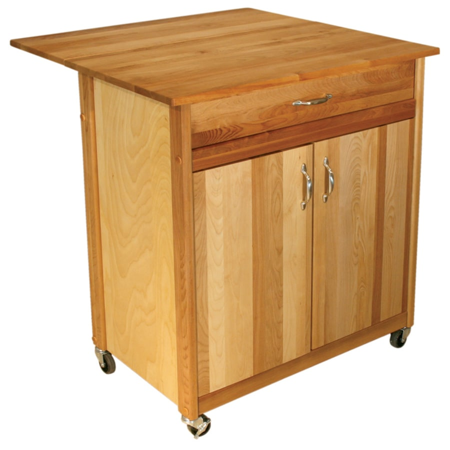 Catskill Craftsmen 33.5-in L x 27.5-in W x 34.5-in H Natural Kitchen Island with Casters