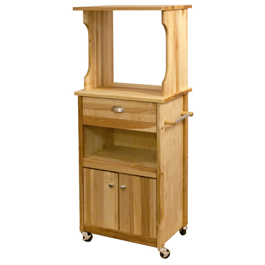 Catskill Craftsmen 22.125-in L x 15.25-in W x 53-in H Natural Birch Kitchen Island with Casters