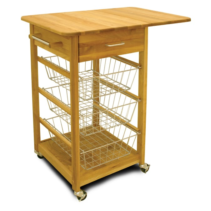 Catskill Craftsmen Brown Wood Base With Birch Butcher Block Top Kitchen Cart 32 75 In X 21 In X 35 5 In In The Kitchen Islands Carts Department At Lowes Com
