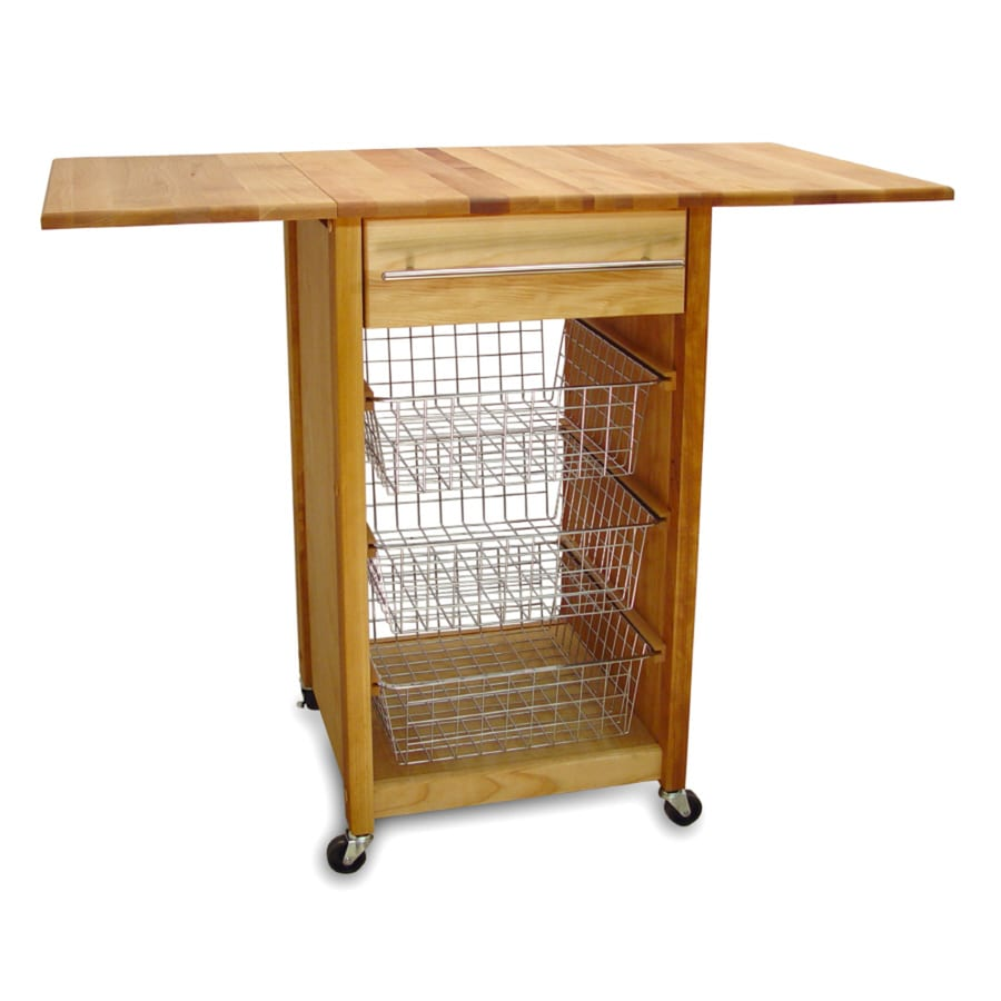 Catskill Craftsmen 21-in L x 44-in W x 35.5-in H Natural Birch with Oiled Finish Kitchen Island with Casters