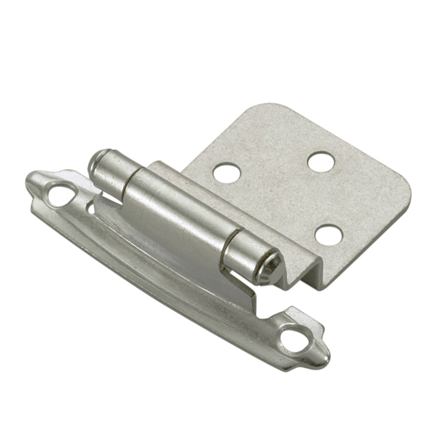 Style Selections 2-Pack 2-3/4-in x 2-1/8-in Satin Nickel Self-Closing Flush Cabinet Hinges