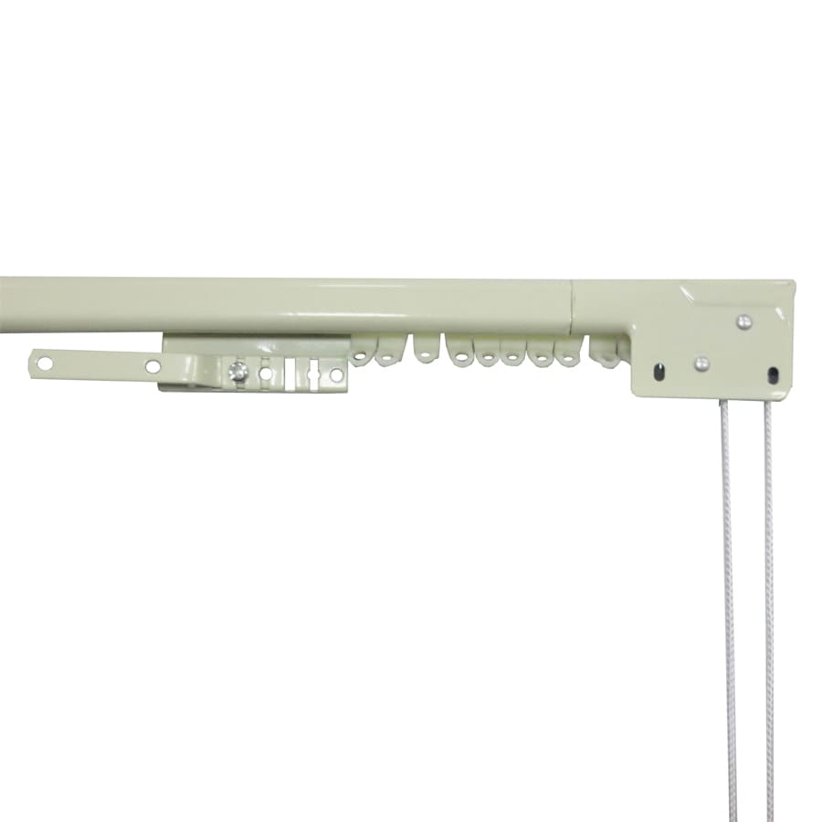 source 84 in to 156 in white steel traverse curtain rod at