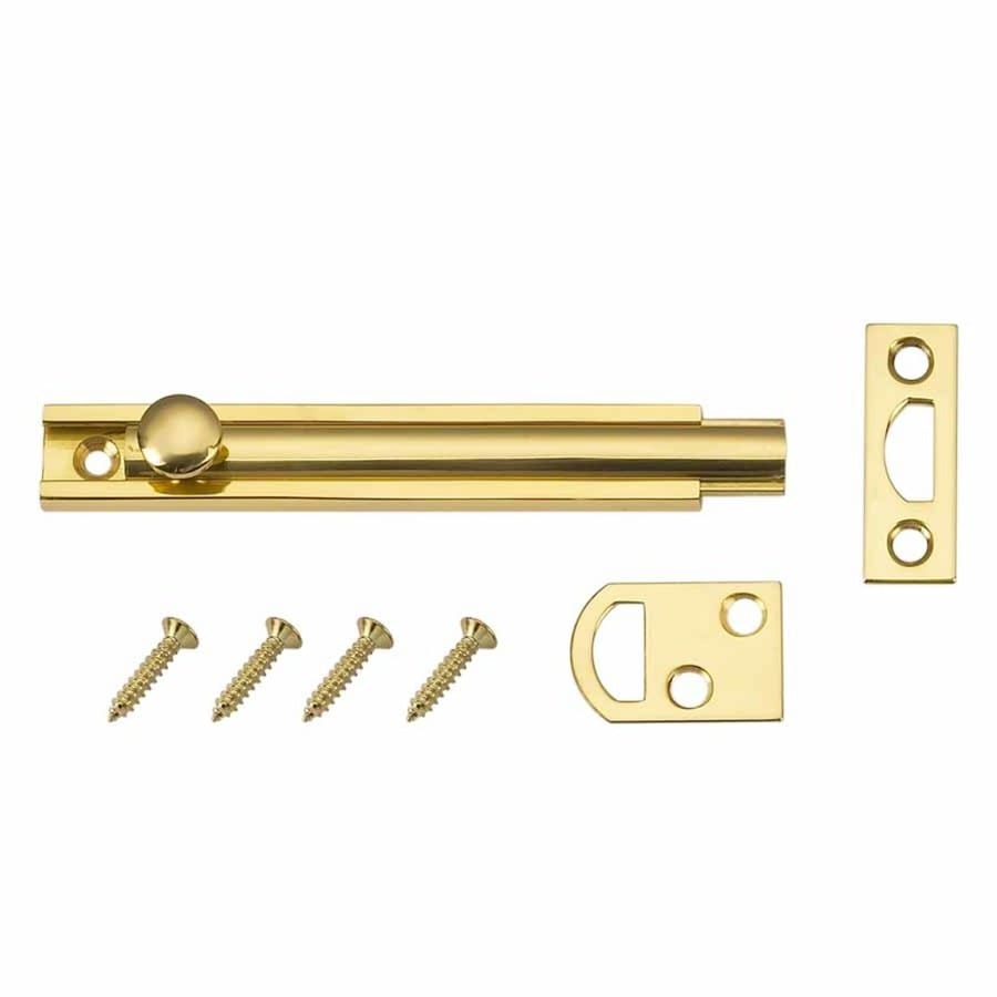 Gatehouse 4-in Polished Brass Slide Bolt Entry Door Chain Guard