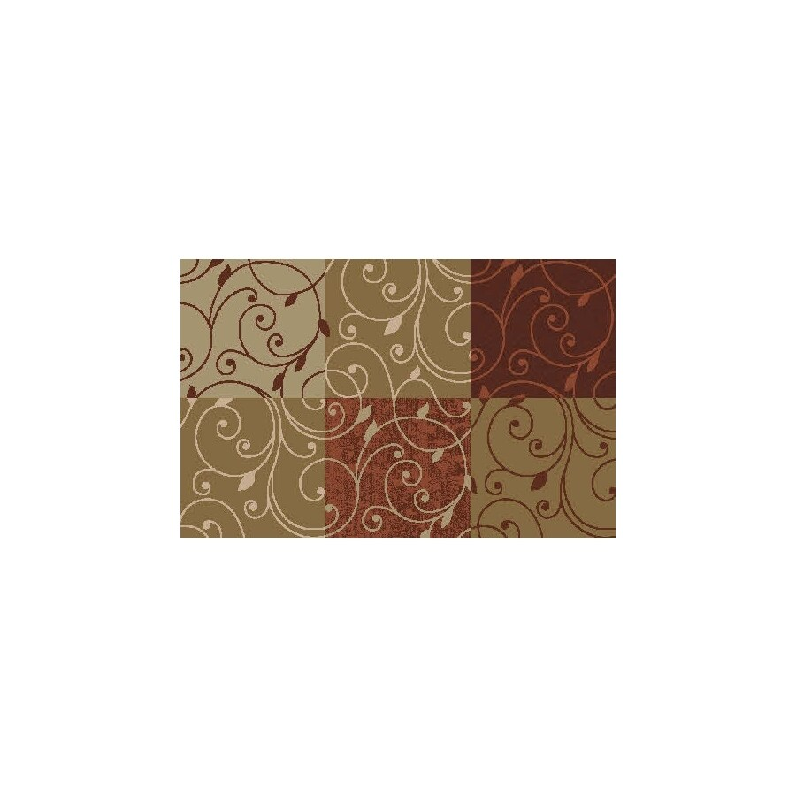 Style Selections 27-in x 45-in Rectangular Red Block Accent Rug