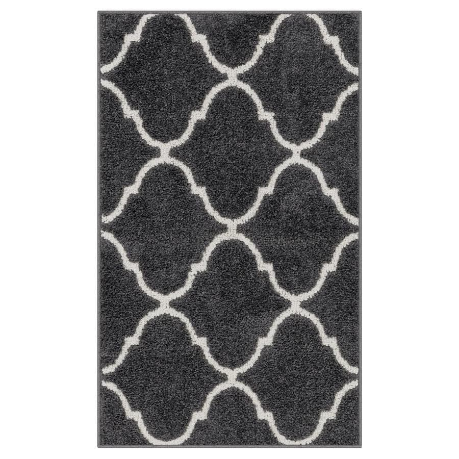 allen + roth Charcoal/Beige Rectangular Indoor Tufted Throw Rug (Common: 2 x 3; Actual: 20-in W x 34-in L x 0-ft Dia)
