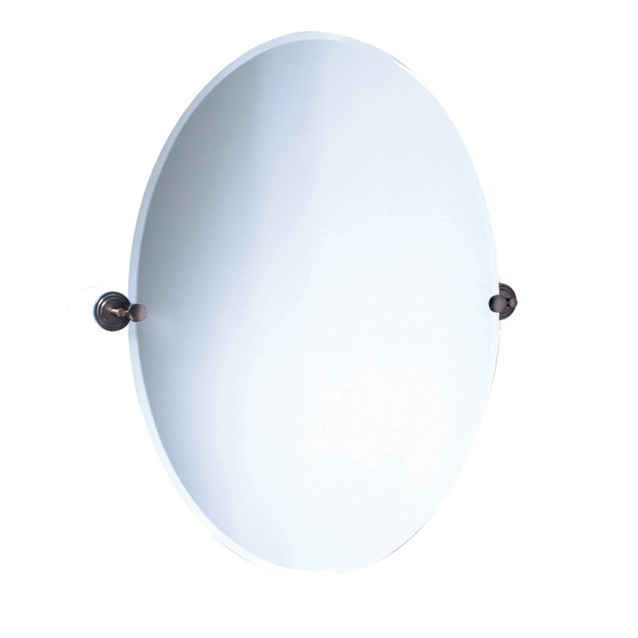 Gatco Marina 28.5-in W x 32-in H Oval Tilting Frameless Bathroom Mirror with Bronze Hardware and Beveled Edges
