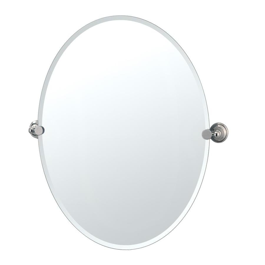 Gatco Laurel Avenue 24-in W x 32-in H Oval Tilting Frameless Bathroom Mirror with Polished Nickel Hardware and Beveled Edges