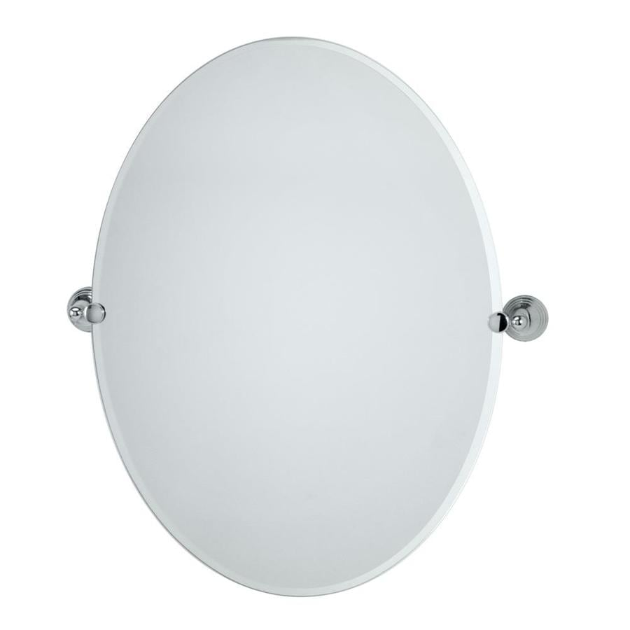 Gatco Charlotte 24-in W x 32-in H Oval Tilting Frameless Bathroom Mirror with Chrome Hardware and Beveled Edges