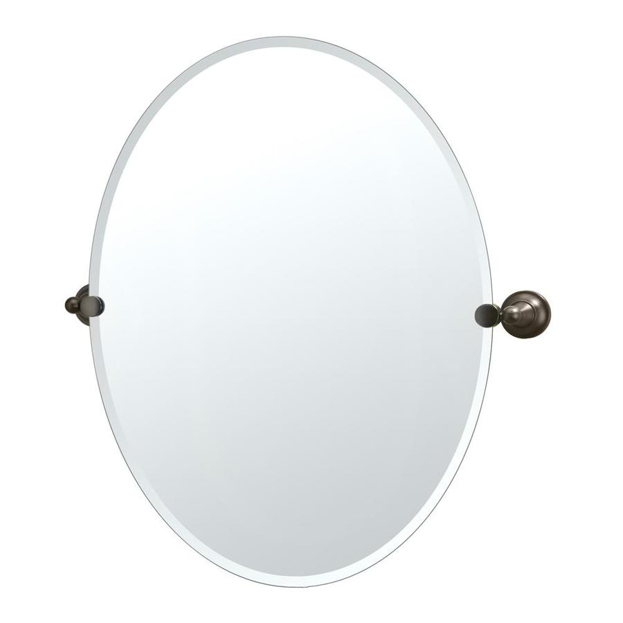 Gatco Tiara 24-in W x 32-in H Oval Tilting Frameless Bathroom Mirror with Bronze Hardware and Beveled Edges